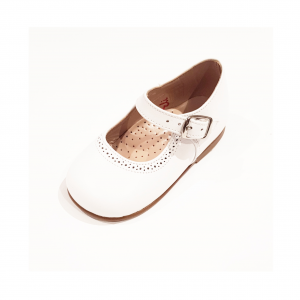 Scarpe ballerina in pelle bianca con fibbia