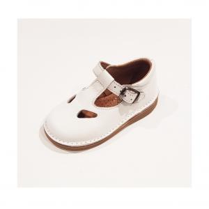 Scarpe a sandalo in pelle bianca con fibbia
