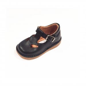 Scarpe a sandalo in pelle nera con fibbia