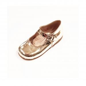 Scarpe ballerina argento laminato con fibbia