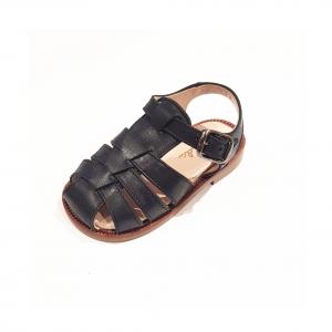 Scarpe ragnetto in pelle nera con fibbia