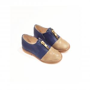 Scarpe blu e kaki con zip