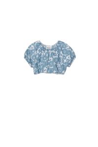 Camicia azzurra corta con spalline