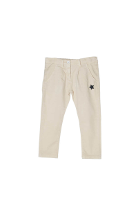 Pantalone bianco con stampa stella nera