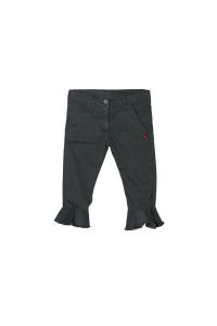 Pantalone grigio con fondo a volant