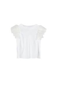 T-Shirt bianca larga con spalline volant