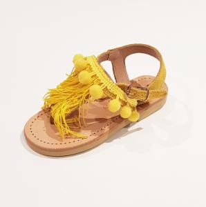 Sandali beige e gialli con pompon gialli