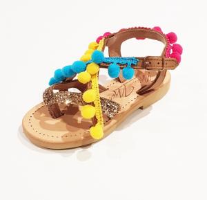 Sandali beige e oro glitter con pompon multicolore