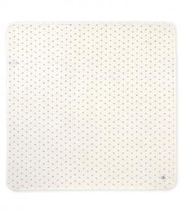 Coperta bianca con pois e stampa elefanti grigi