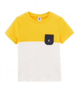 T-Shirt bianca e gialla con taschino blu