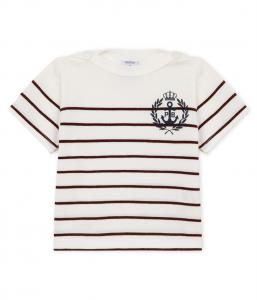 T-Shirt bianca con righe rosso vino