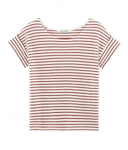 T-Shirt a righe bianche e rame