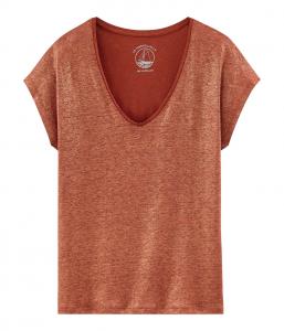 T-Shirt arancione scura con collo a V