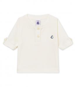 T-Shirt bianca con ricamo logo blu