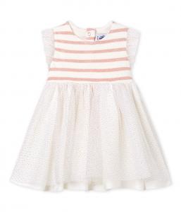 Vestito bianco con righe rosa e paillettes