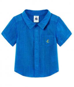 Camicia blu con ricamo logo giallo