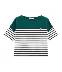 T-Shirt verde con righe bianche e blu