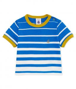 T-Shirt a righe azzurre e bianche con ricamo logo giallo