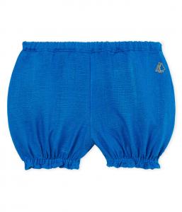 Culotte azzurra con ricamo logo giallo