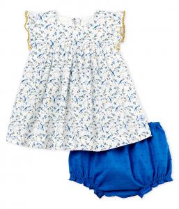 Completo bianco e azzurro con fantasia multicolore