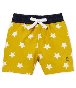 Costume da bagno giallo con stampa stelle bianche