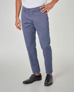 Pantalone chino blu indaco micro-fantasia