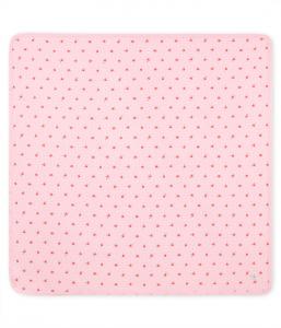 Coperta rosa con pois e stampa fiori rossi