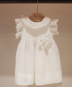 Vestito bianco con fiore, 6M-12M