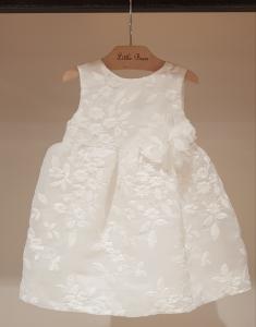Vestito bianco con ricami fiori e fiore, 6M-18M