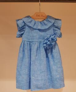 Vestito blu con fiore, 2A-4A