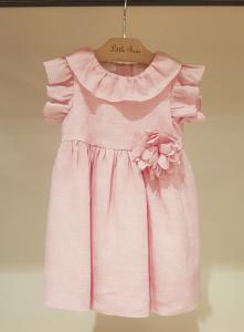 Vestito rosa con fiore, 6M-9M