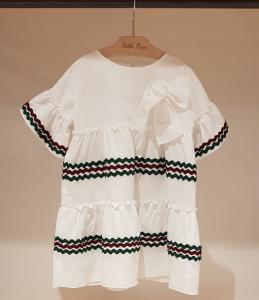 Vestito bianco con ricami bordeaux e verdoni, 12M-18M
