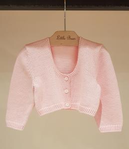 Cardigan rosa corto con tasche