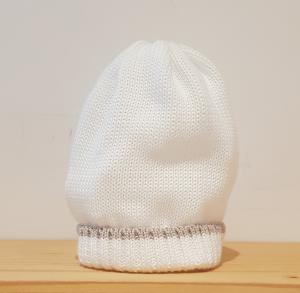 Cappello bianco con riga beige