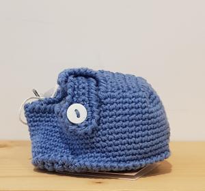 Scarpette azzurre con bottone