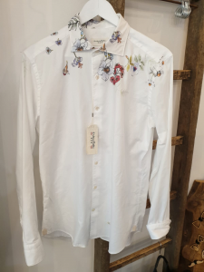 Camicia bianca con dipinto floreale Tintoria Mattei 954