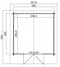 CASETTA LEGNO CM  300 X 300 SPESSORE MM 28 con porta e finestra