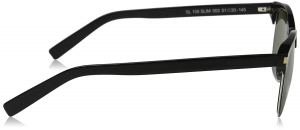 Yves Saint Laurent - Occhiale da Sole Unisex, SL 108 Slim, Shiny Black and Silver/Green Shaded 003  C51