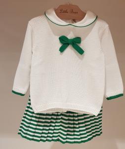 Completo bianco e verde con fiocco