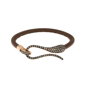 Bracciale in pelle con chiusura in diamanti brown