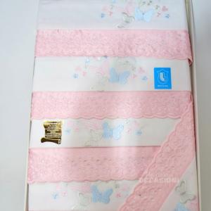 Asciugamani 6pz Misto Lino Pizzo Rosa