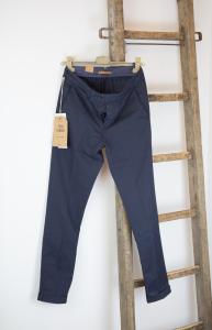 Pantalone in cotone e lino blue Tela Genova