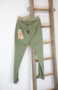Pantalone in cotone e lino verde Tela Genova