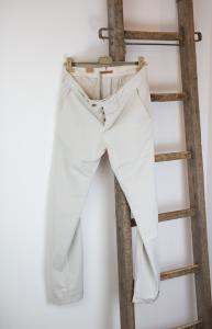 Pantalone in cotone e lino ghiaccio Tela Genova