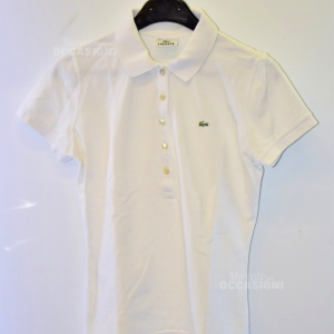 Polo Donna Lacoste Bianca Tg 40