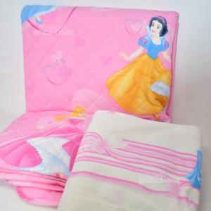 Copriletto + Lenzuolo Disney Caleffi Principesse Rosa Per Letto Singolo