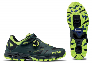 NORTHWAVE Man MTB all mountain shoes SPIDER PLUS 2 green gable/yellow fluo