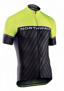 NORTHWAVE Man cycling jersey short sleeves LOGO 3  fluo yellow/black