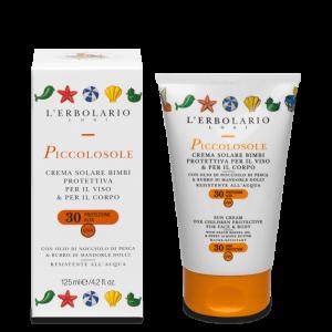 Piccolosole Crema solare Bimbi protettiva per il viso e per il corpo SPF30 125 ml
