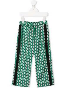 Pantalone verde con bande nere e stampa scarabei